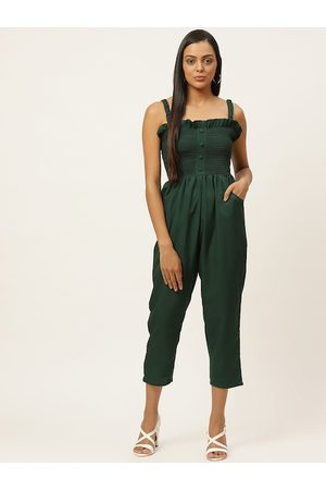 U&F Women Green Self Design Smocked Capri Jumpsuit