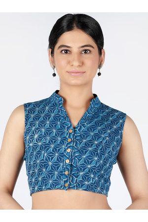 Llajja Women Blue Printed Saree Blouse