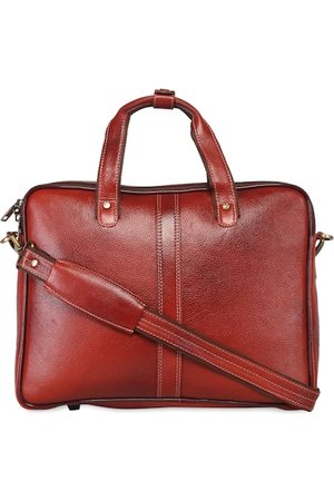 GENWAYNE Men Tan Brown Textured Laptop Bag