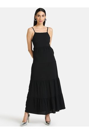 Kazo Women Black Solid Layered Maxi Dress