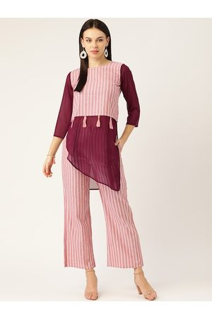Cottinfab Women Pink & White Striped Tunic with Trousers