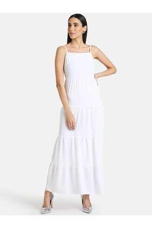 Kazo Women White Solid Maxi Dress