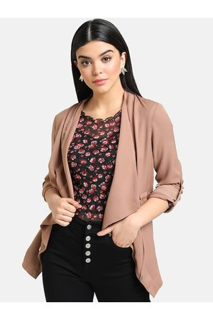 Kazo Women Brown Solid Open Front Jacket