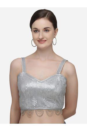 Fab Dadu Women Silver-Coloured Embellished Silk Saree Blouse