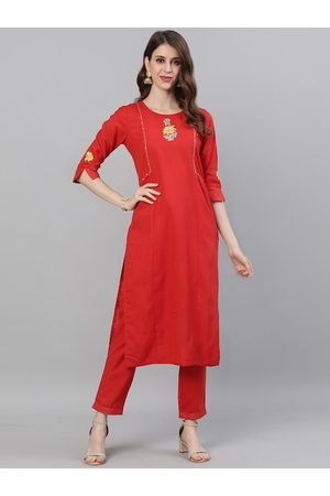 Jaipur Women Red Embroidered Kurta with Trousers
