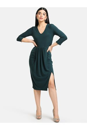 Kazo Women Green Solid Sheath Dress