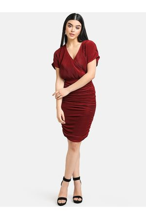 Kazo Women Maroon Self Design Wrap Dress