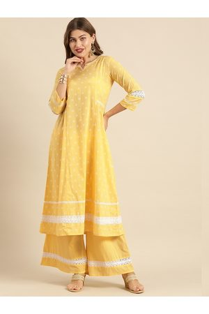 Varanga Women Yellow & White Printed Kurta with Palazzos
