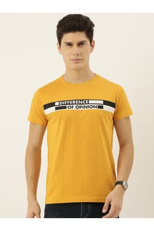 Difference of Opinion Men Mustard Yellow Brand Logo Printed Round Neck T-shirt