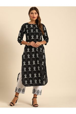 Varanga Women Black & White Ethnic Motifs Printed Kurta
