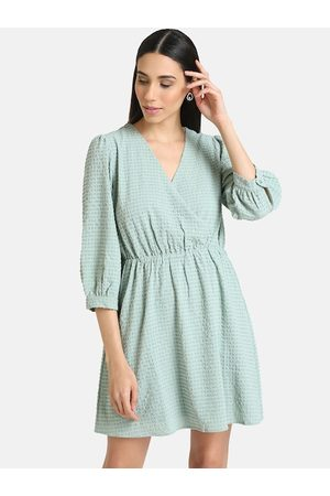 Kazo Women Green Self Design Wrap Dress