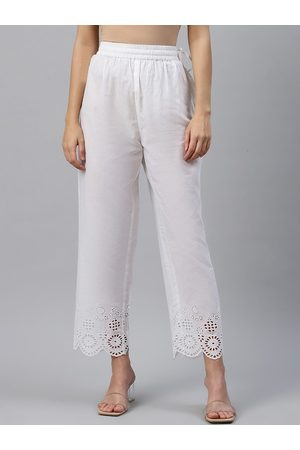 Varanga Women White Regular Fit Embroidered Regular Trousers