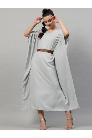 STREET 9 Women Grey Solid A-Line Dress