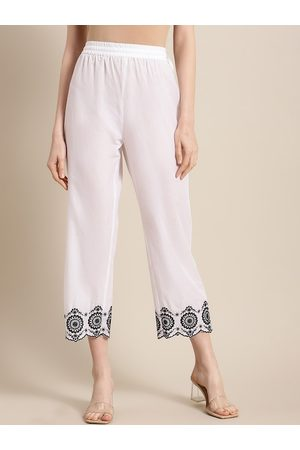 Varanga Women White Regular Fit Embroidered Parallel Trousers