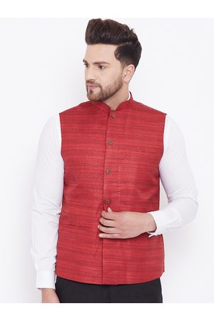 Vastramay Men Maroon Woven-Design Nehru Jacket
