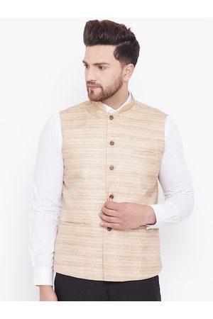 Vastramay Men Beige Woven-Design Slim-Fit Nehru Jacket