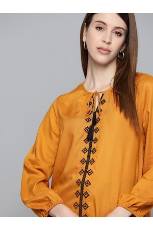 Chemistry Mustard Yellow Embroidered Detail Tie-up Neck Puff Sleeves Regular Top