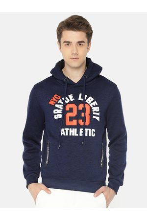 The Indian Garage Co Men Navy Blue Self Design Hooded Sweatshirt