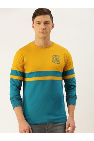 Difference of Opinion Men Mustard Yellow & Teal Blue Colourblocked Round Neck T-shirt