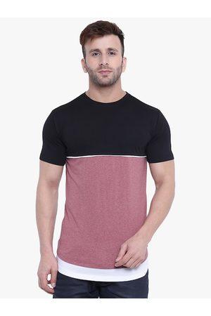 GRITSTONES Men Black Colourblocked Round Neck T-shirt