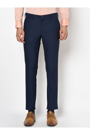 Blackberrys Men Navy Blue Slim Fit Solid Formal Trousers