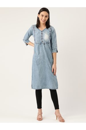 Kvsfab Women Blue Thread Work Indigo Denim Kurta