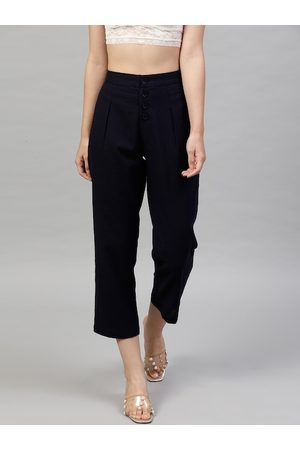 STREET 9 Women Navy Blue Cotton Solid Cropped Regular Trousers