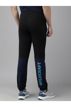 Wildcraft Men Black & Navy Blue Colourblocked Straight Fit Joggers with Printed Detail