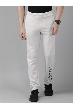 Wildcraft Men Grey Melange Solid Straight Fit Joggers with Printed Detail