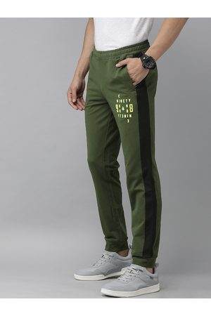 Wildcraft Men Olive Green Striped with Print Off Active Track 9 Straight Fit Joggers