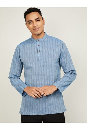Lifestyle Men Blue Striped Printed Kurta