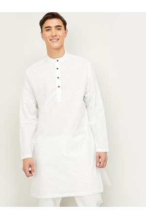 Lifestyle Men White & Navy Blue Geometric Printed Band Collar Cotton Kurta