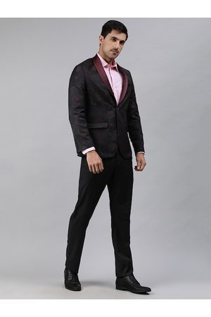 Ethnix by Raymond Men Maroon & Black Tailored Fit Single-Breasted Two-Piece Suits