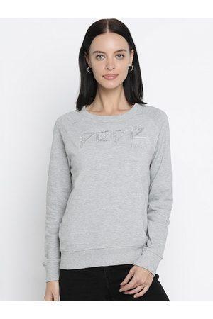 Pepe Jeans Women Grey Melange Solid Sweatshirt