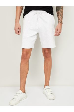 Lifestyle Men White Solid Regular Fit Sports Shorts
