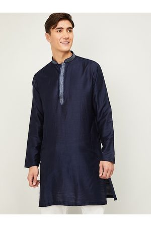 Lifestyle Men Navy Blue Solid Kurta