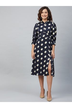 marie claire Women Navy Blue & Cream-Coloured Polka Dot Printed Fit and Flare Dress