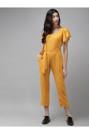Cayman Women Mustard Yellow Solid Cropped Basic Jumpsuit With Belt