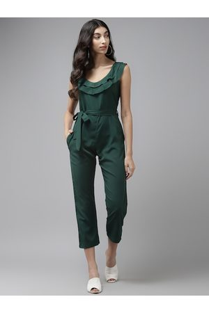 Cayman Women Green Solid Cropped Basic Jumpsuit With Belt