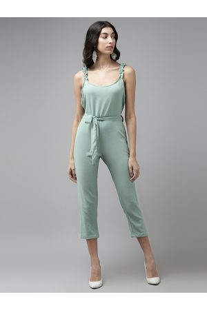 Cayman Women Sea Green Solid Cropped Basic Jumpsuit With Belt