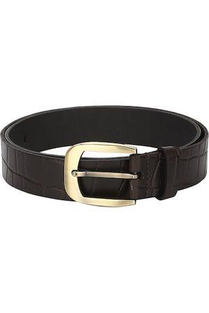 Aditi Wasan Men Brown Croc Skin Textured Genuine Leather Belt