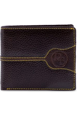 RICH BORN Men Brown & Yellow Textured Two Fold Wallet