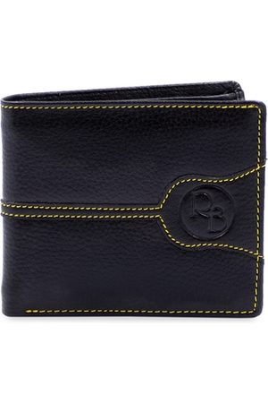 RICH BORN Men Navy Blue Textured RFID Protected Leather Two Fold Wallet