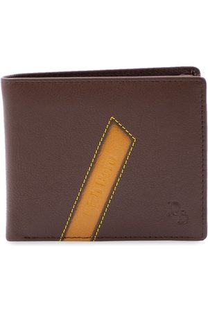RICH BORN Men Brown Solid RFID Protected Leather Two Fold Wallet