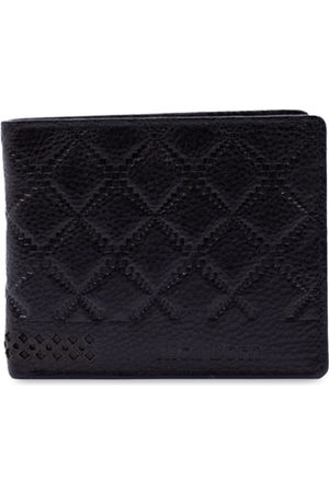 RICH BORN Men Black Textured RFID Protected Leather Two Fold Wallet