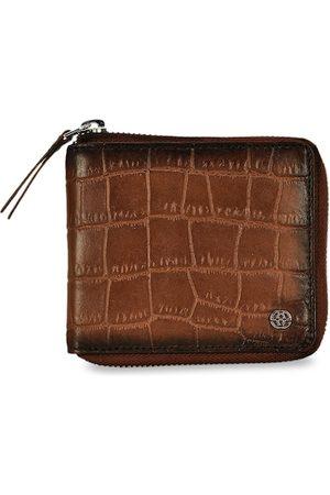 Eske Men Tan Brown Textured Two Fold Leather Wallet