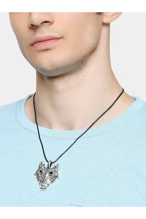 OOMPH Men Silver-Toned Wolf Design Handcrafted Pendant With Black Fashion Chain