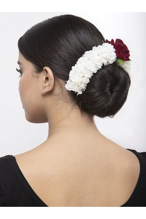 Moedbuille Red Floral Design White Beaded and Lace Handcrafted Hair Accessory
