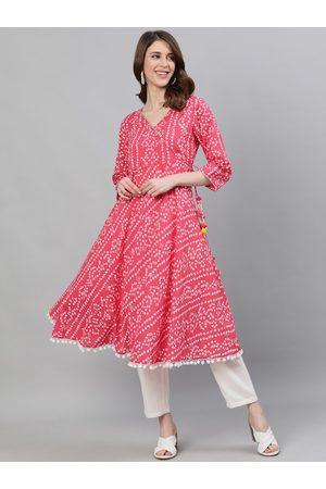 Ishin Women Pink Bandhani Printed Anarkali Kurta