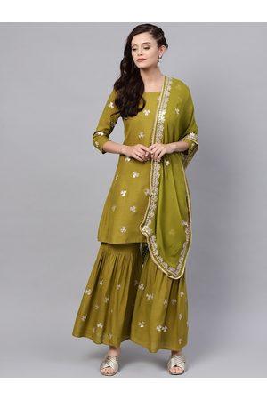 Ishin Women Green & Off-White Embroidered Kurta with Sharara & Dupatta